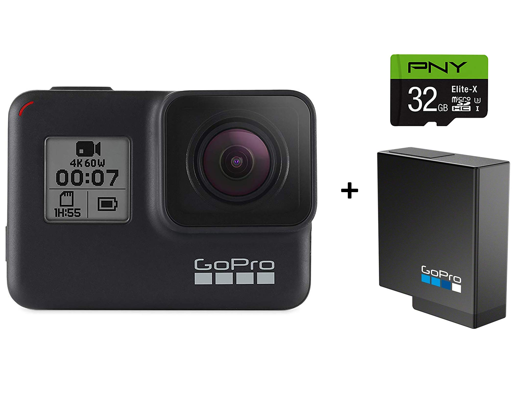GoPro HERO7 Black Camera + Extra Rechargeable Battery + PNY Elite-X 32GB U3 microSDHC Card (Bundle) - Waterproof Digital Action Camera Touch Screen 4K HD Video 12MP Photos Live Streaming Stabilization by GoPro