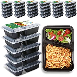TT Meal Prep Containers 2 Compartments 30Ounce 51 Pack Food Prep Container Reusable Heavy Duty Container To Go Container,BPA Free,Microwaveable Dishwasher Freezer Safe