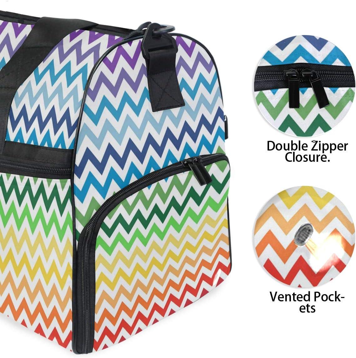 MALPLENA Colorful Wave Line Pattern Packable Duffle Bag For Men Women Tear Resistant Sports Duffle