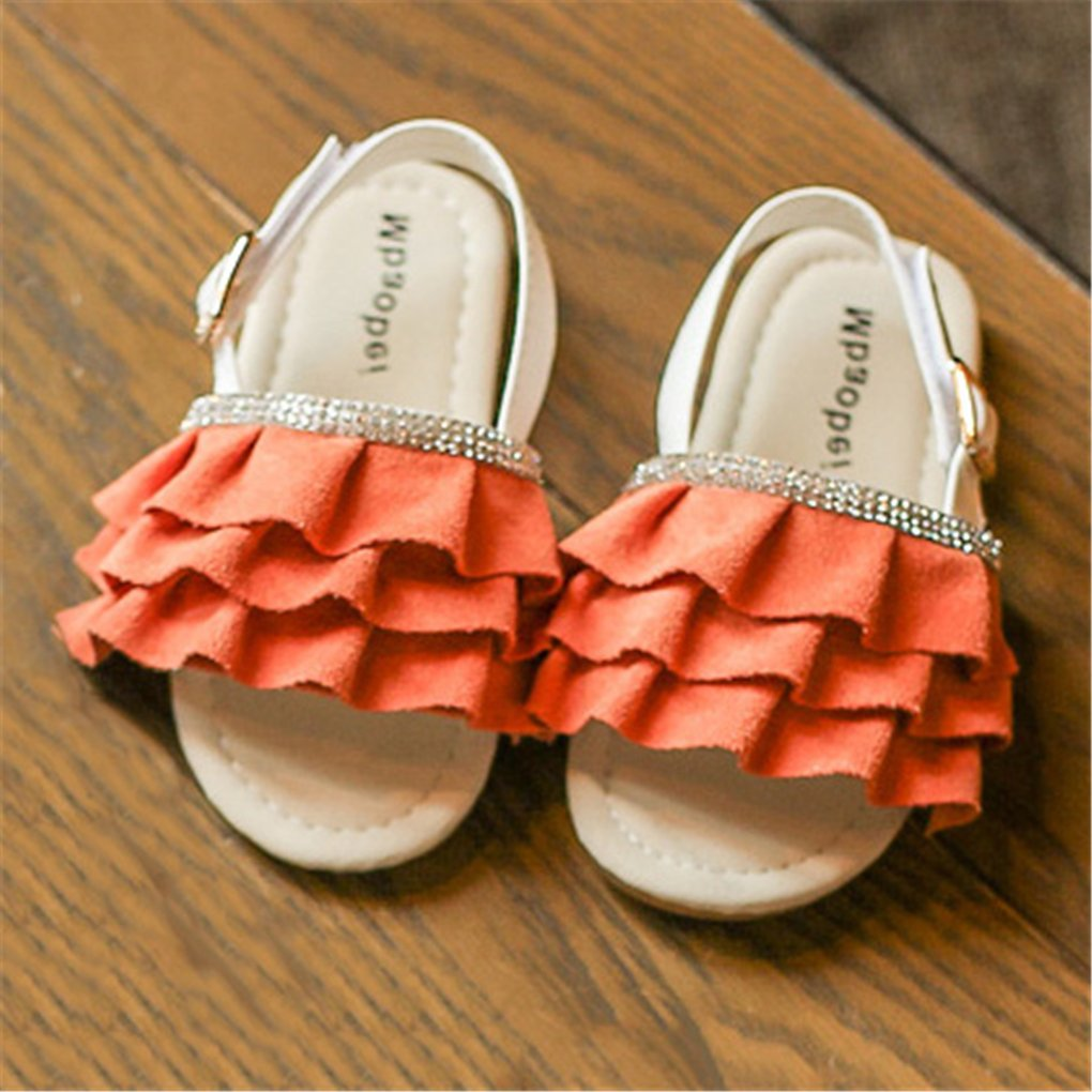 lakiolins Toddler Girls Layered Pleated Slip On Slides Summer Beach Slingback Flat Sandals Orange Size 25 by lakiolins (Image #2)
