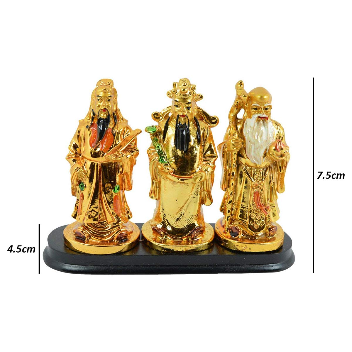 Reiki Crystal Products Fuk Luk Sau, 3 Wise Men and Chinese Gods of Health  Wealth and Happiness Symbol Vastu / Feng Shui