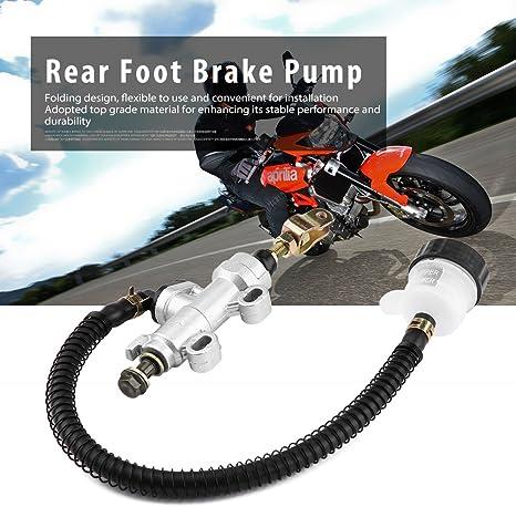 Faltender Hinten Hauptbremszylinder Motorrad Universal Motorrad Hinterhydraulik Hauptbremszylinderpumpe f/ür Motorrad ATV Dirt Bike Silber