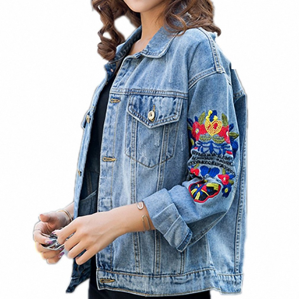 Huiwa Womens Denim Jacket Ripped Embroidery Hole Jeans Coat Floral Long Sleeve at Amazon Womens Coats Shop