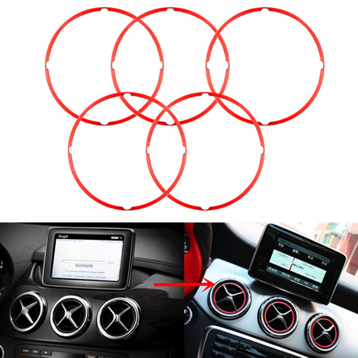 Alamor 5Pcs Couvercle D'É vent De Sortie D'Air Rouge Pour Mercedes Benz Cla Gla180 200 220 260
