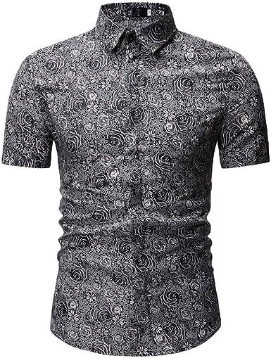 Camisa A Cuadros De Manga Corta para Hombres, Ropa Casual De Verano, Camisa Slim De Negocios Negra.: Amazon.es: Ropa y accesorios
