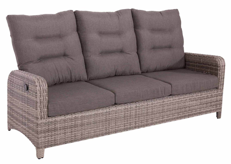 lifestyle4living Gartenbank 3 Sitzer aus Polyrattan Geflecht inkl. Kissen in grau. Die Loungebank ist wetterfest, ideal für Garten, Terrasse und Balkon.