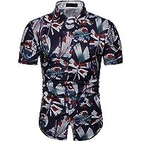 Elegeet Men's Casual Floral Printed Button Down Short Sleeve Hawaiian Aloha Shirt
