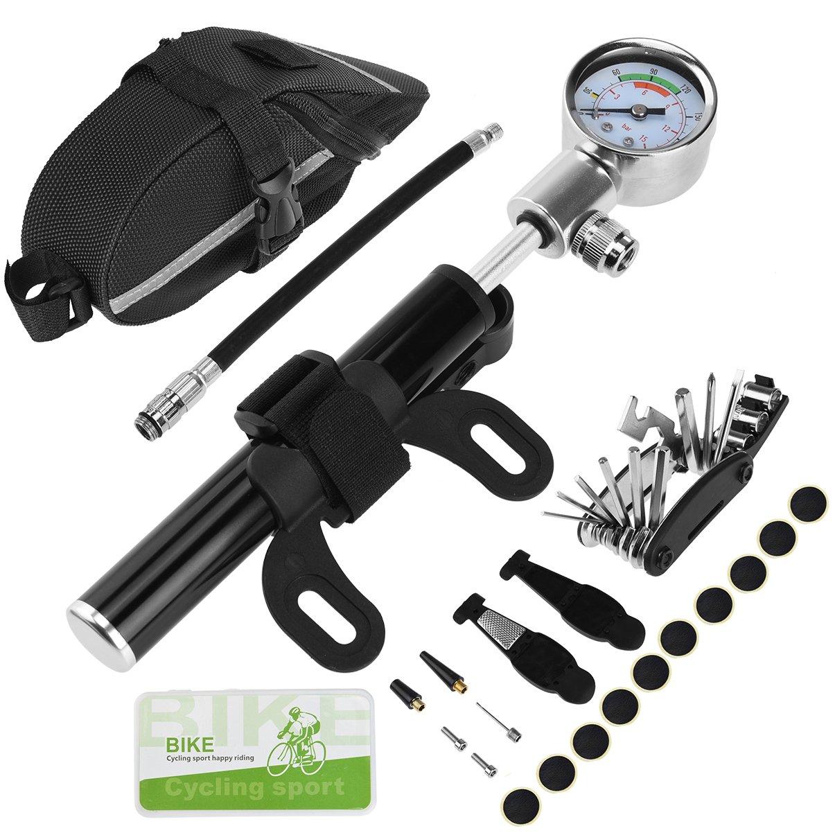 RUNACC Bike Repair Tools Kit Portable 16-in-1 Bicycle Multi-tool Set with Nylon Bike Saddle Bag, 140 PSI Mini Bike Pump with Air Pressure Gauge, Fits Both Presta and Schrader Valves