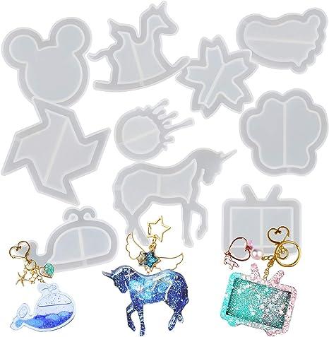 Resina de Epoxy Coctelera Silicona Moldes Arenas Movedizas Vaciado Set Mouse Cabeza, Flor, Huellas, Delfín, Molino de Viento, Unicornio, Bears Pata, ...