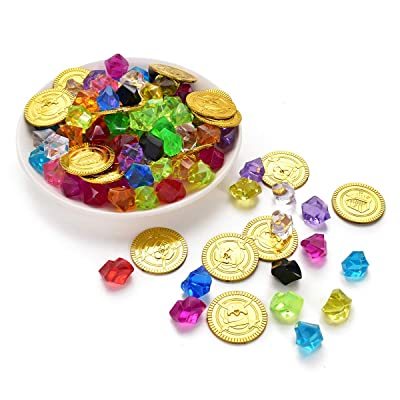 Hagao Pirate Toys Gold Coin & Colorful Acrylic Diamond Crystals Gems Jewels Pirate Treasure Treasure Box Prizes 120Pcs (20Coins+100Gems): Toys & Games