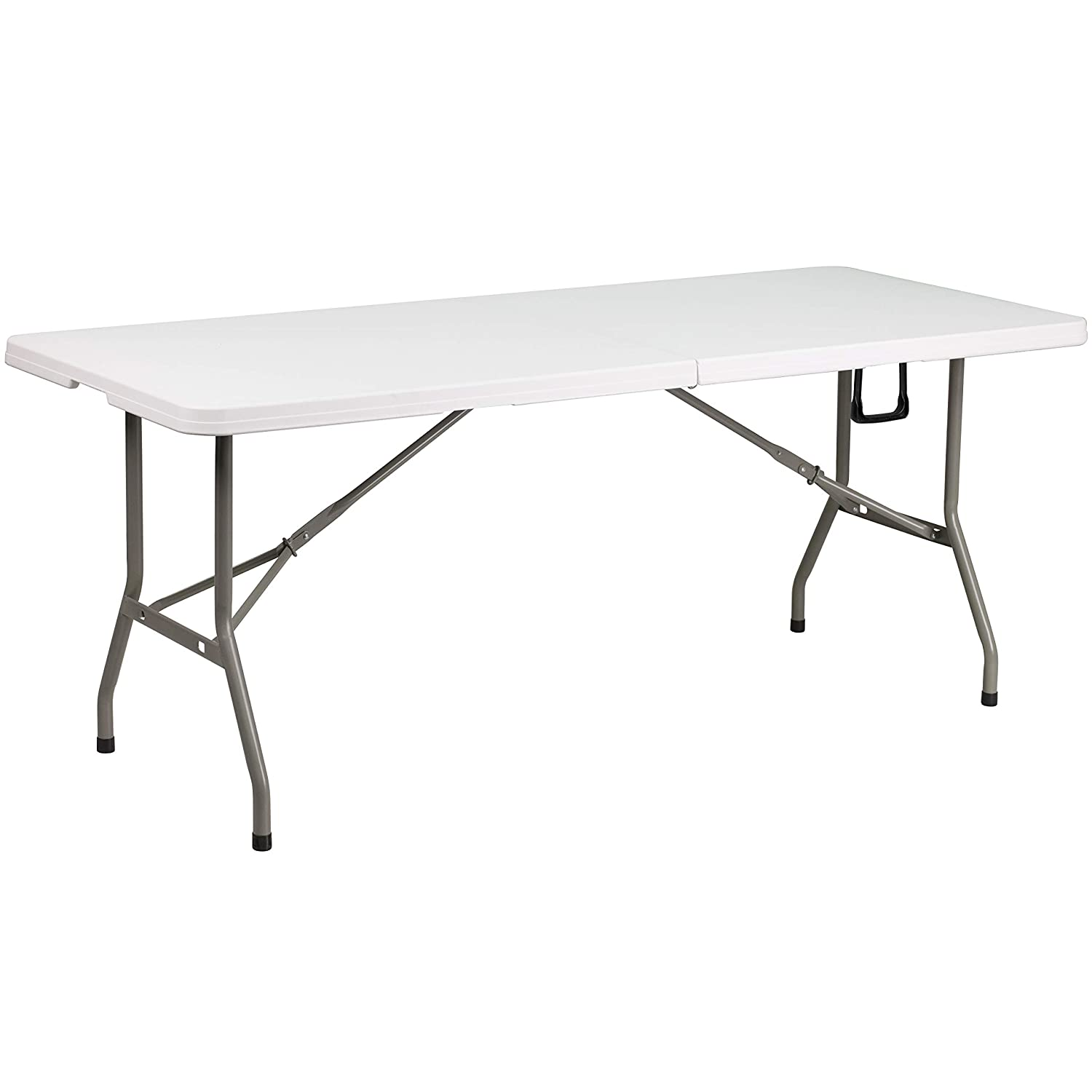 Flash Furniture 6-Foot Bi-Fold Granite White Plastic Banquet and Event Folding Table with Carrying Handle , 30 by 72 – DAD-YCZ-183Z-GG