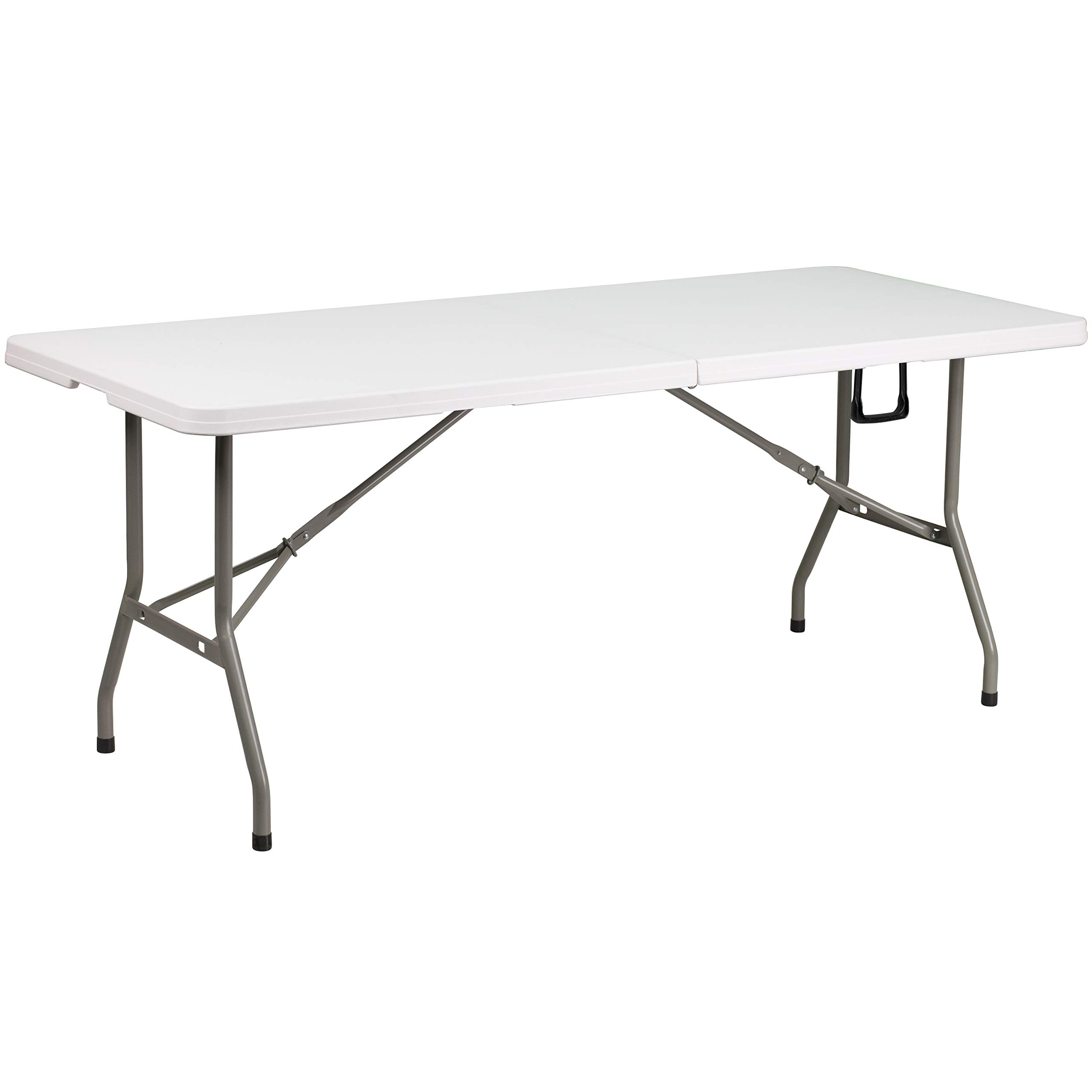 Flash Furniture 30''W x 72''L Bi-Fold Granite White Plastic Banquet and Event Folding Table with Carrying Handle by Flash Furniture