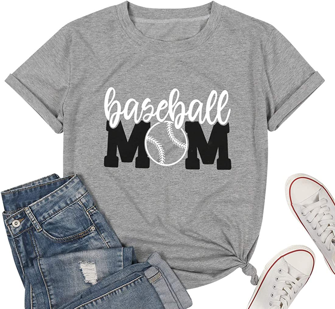 Baseball Tshirt Womens Mom Shirt Short Sleeve O-Neck Letters Print Casual Tops Tees