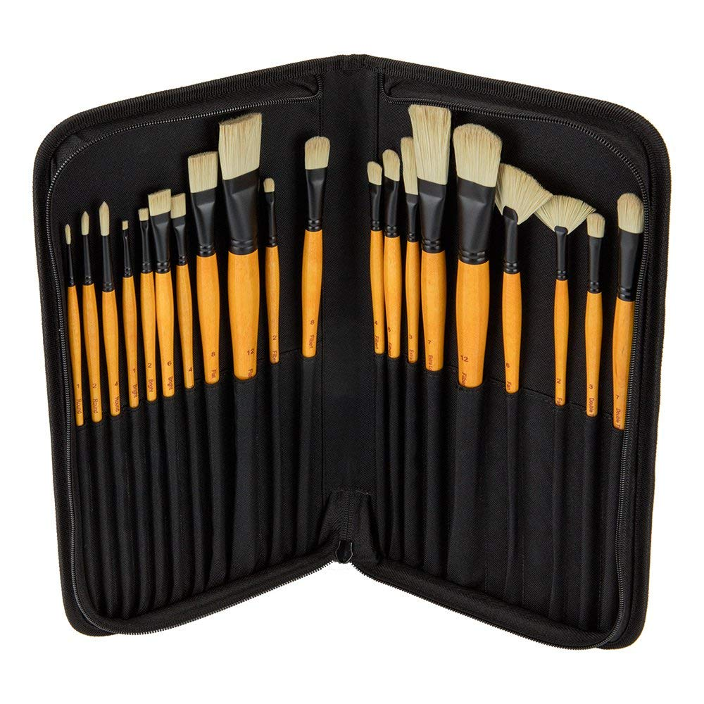 Creative Mark Paint Brush Set Mimik Hog Professional Synthetic Hog Bristle Brushes for Acrylics, Inks, Dyes, Gouaches, Watercolors, Easein & Egg Tempera - [Deluxe 20 Piece Set w/Leather Case] by Creative Mark