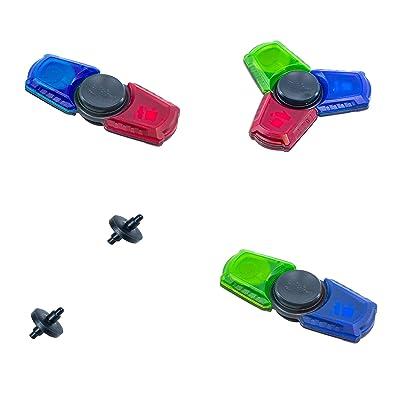 "Zing 2 x Spinzipz and 1 Spinbladez Fidget Stick, Red/Blue/Green, 3"" x 0.5"": Toys & Games"