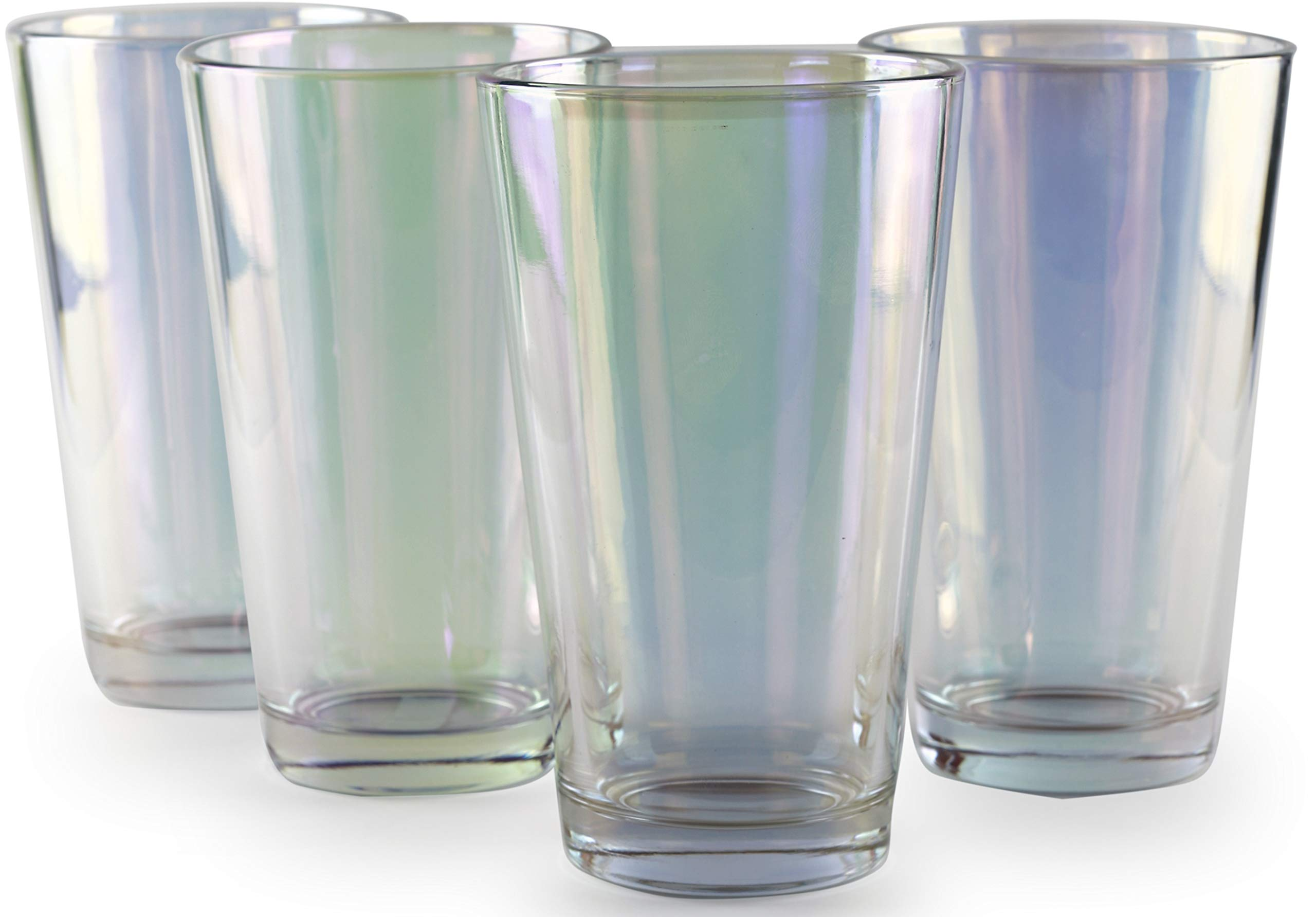 Circleware 76841 Radiance Set of 4 Heavy Base Highball Cooler Drinking Glasses Beverage Tumbler, 15.75 oz, Cups for Water, Juice, Milk, Beer, Ice Tea and Farmhouse Decor 4pc White Pearl