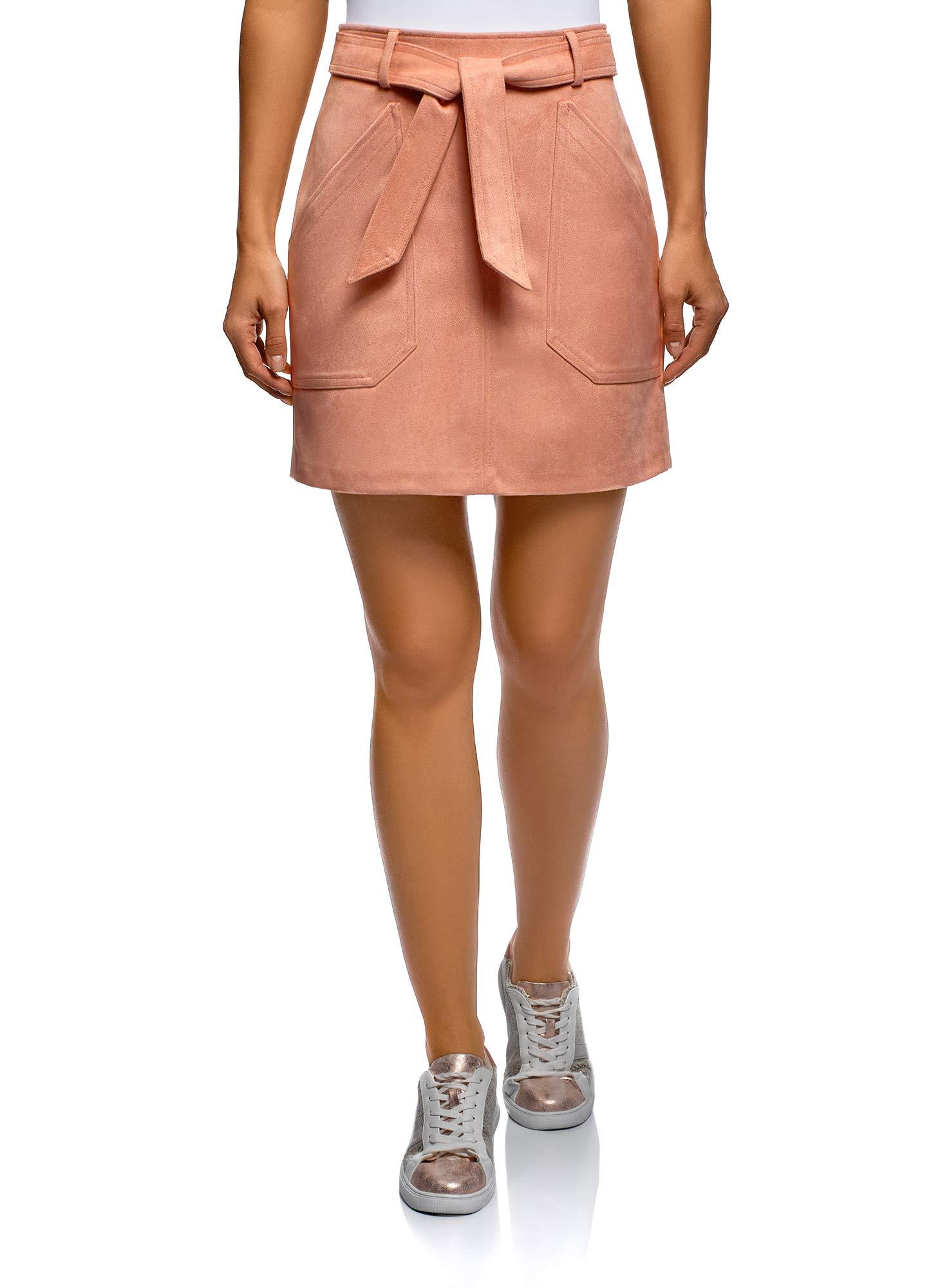 oodji Ultra Women's Belted Faux Suede Skirt, Pink, 8
