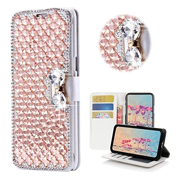 finest selection 597f3 4341e for iPhone XR Wallet Case,Bling Diamond Bowknot Shiny Crystal Rhinestone PU  Leather Card Slot Pouch Flip Cover Kickstand Case for Girl Woman Lady ...