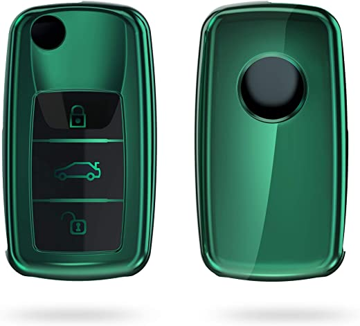 kwmobile Car Key Cover for VW Skoda Seat - TPU Key Fob Cover with Varnished Buttons for VW Skoda SEAT 3 Button Car Key - Dark Green