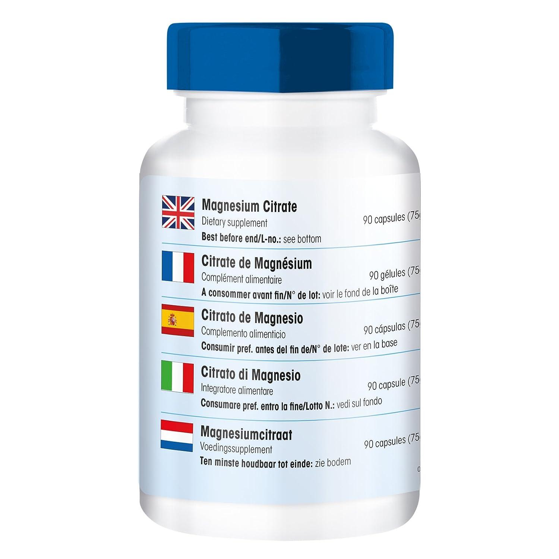 90 cápsulas de citrato de magnesio, Orgánico y con buena disponibilidad biológica, Sustancia pura vegetariana: Amazon.es: Salud y cuidado personal
