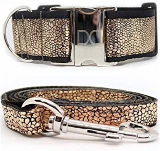 """product image for Diva-Dog 'Monty Metallic' Custom 2"""" Extra Wide Large Dog Rose Gold Dog Collar with Plain or Engraved Buckle, Matching Leash Available ~ LG, XL"""