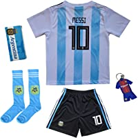 KID BOX 2019 Argentina Lionel Messi #10 Home Soccer Kids Jersey & Short Set Youth Sizes