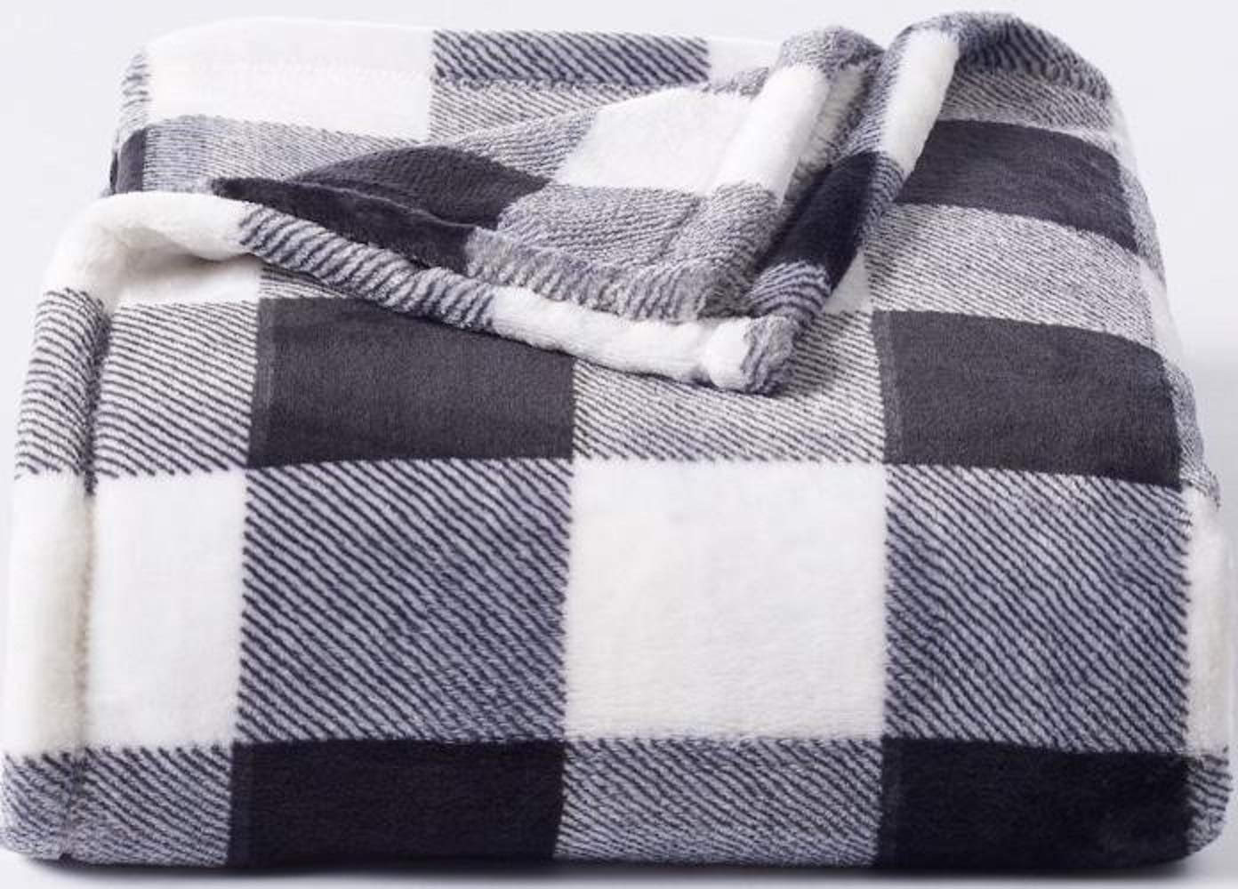 "The Big One Supersoft Plush Throw Black White Buffalo Check - 60"" x 72"""