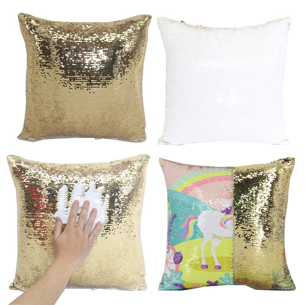 H-E 10pcs Mermaid Pillow Case Sublimation Blank Magic Pillow Case Cushion Cover Decorative Square Throw Pillow Covers 40x40 cm (Gold)