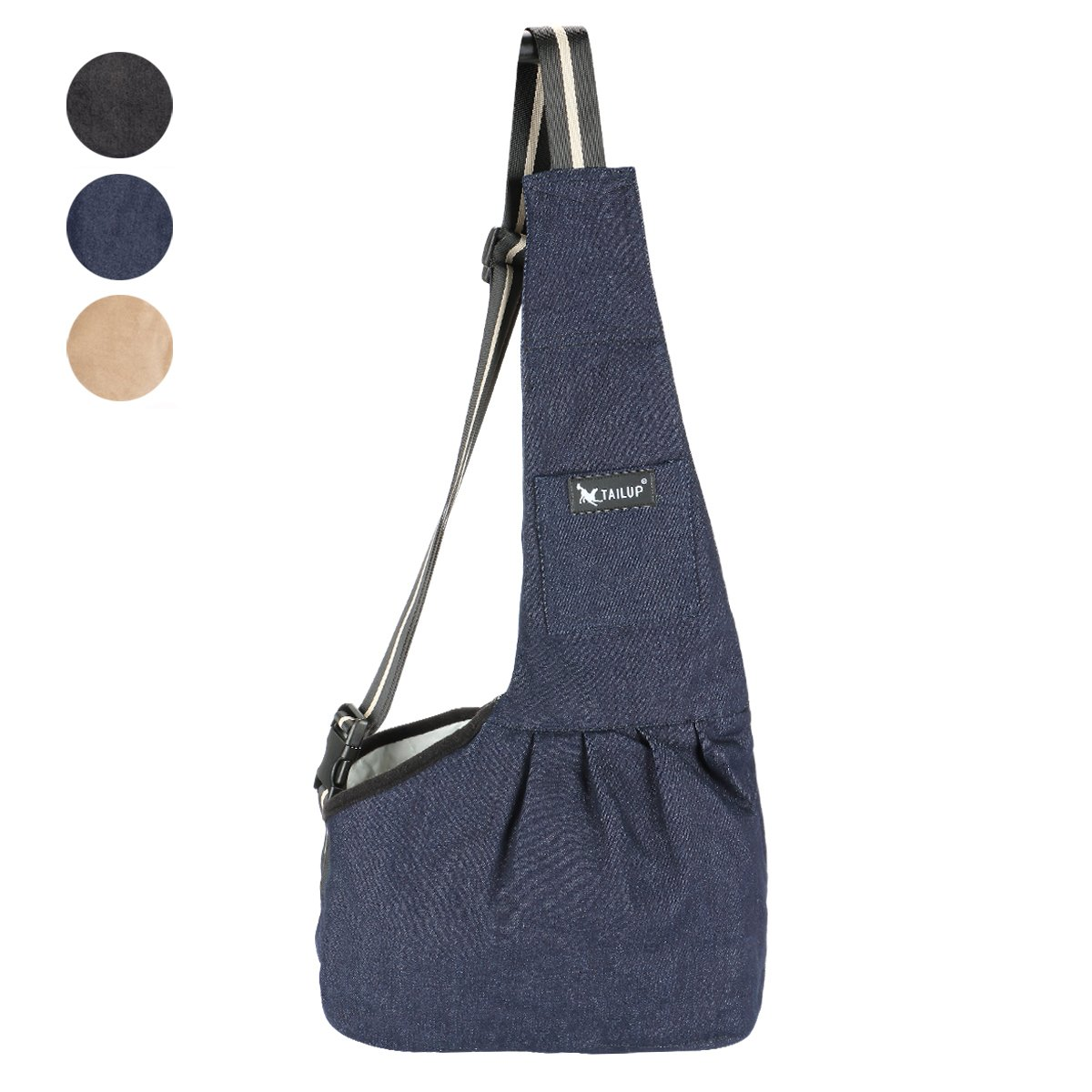 TAIL UP Pet Carrier Sling, Shoulder Bag with Adjustable Slide Strap for Small & Medium Dogs, Cats or Rabbits, Hands-Free Outdoor Pet Carrier, Puppy Carrier Tragvel Bag (S, BLUE)