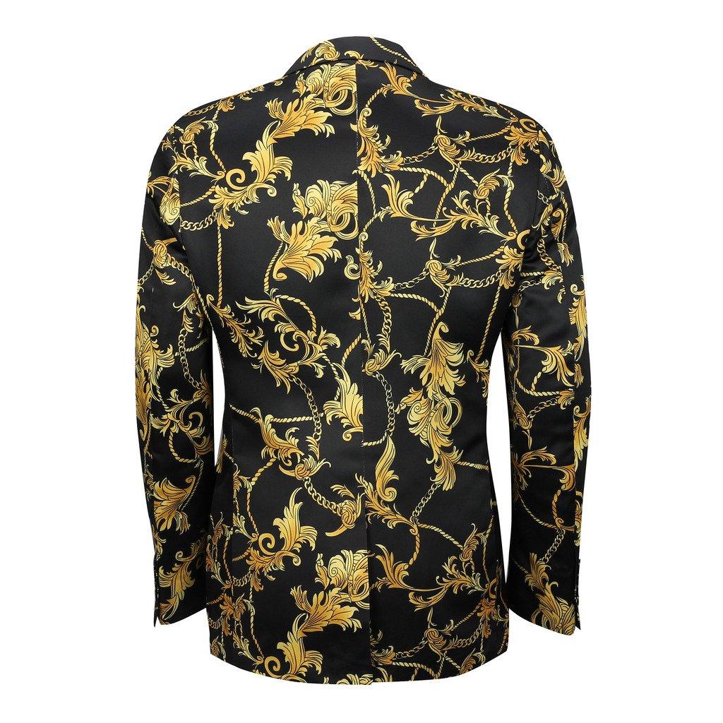 mensblack oro brocado Floral diseño de flores bajera ...