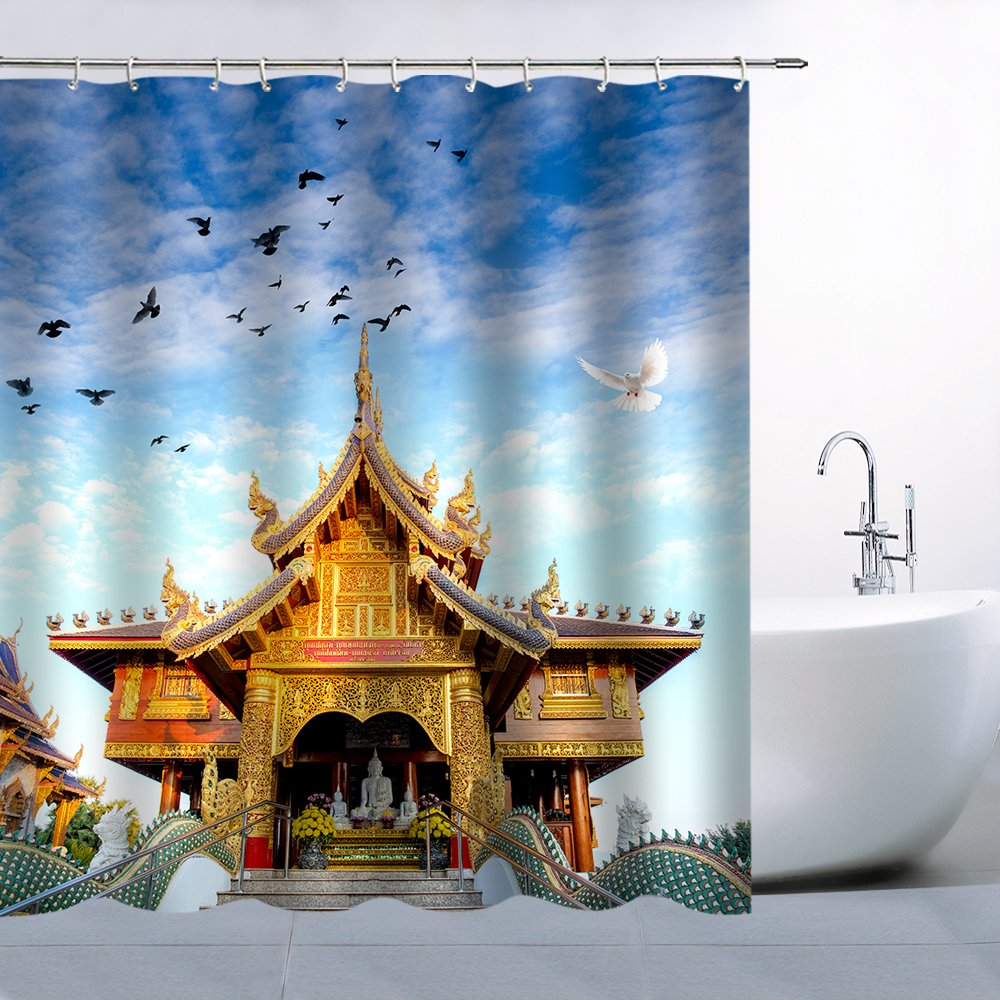 Decor Shower Curtain Tapestry Tourist Attraction Tropical Thai Classic Architectural View Solemn and Beautiful, Polyester Fabric Waterproof Mildew Resistant 70 x 70 Inches Include Hook Golden Blue Sky by AMFD