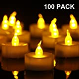 Homemory 100PCS Battery Operated Flickering Flameless Tealight Led Candles, Long Lasting Battery Life, Birthday, Votive, Weddings - Amber Yellow
