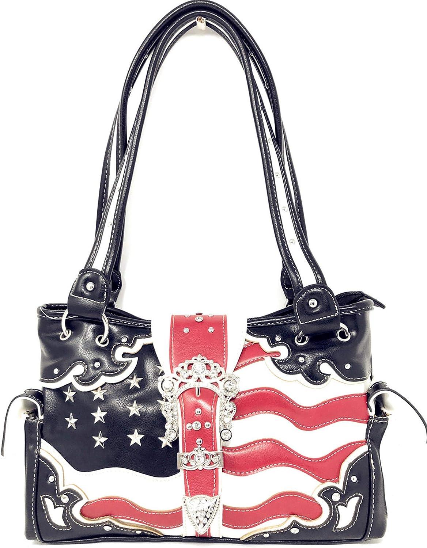 American Flag Rhinestone Concealed Carry Handbag,Purse in Multi Colors