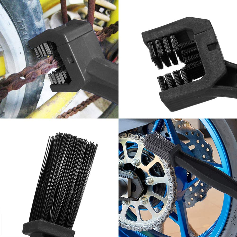cerdas de 3 lados limpiador de cadena de bicicleta Cepillo de limpieza de cadenas 1 pieza cepillo multifuncional 25 cm cepillo de limpieza para cadena de bicicleta y moto