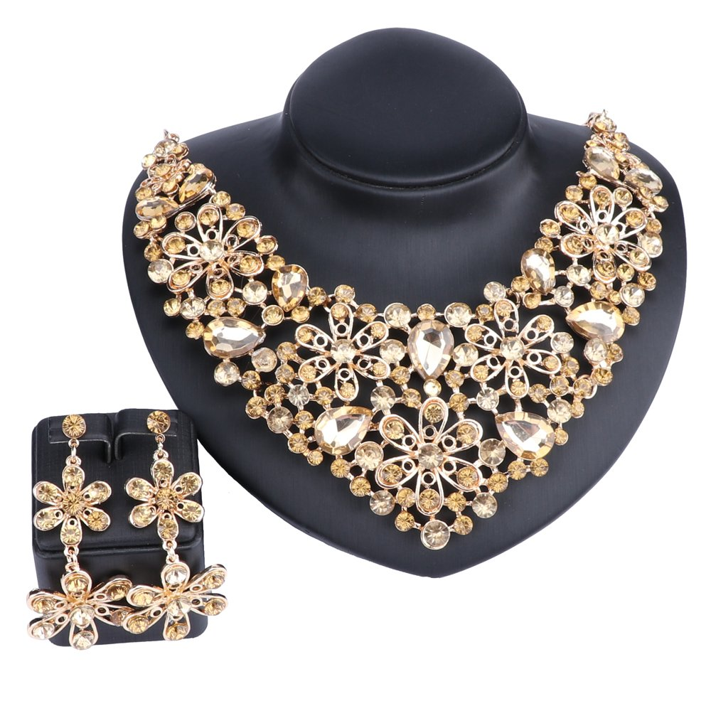 Moroccan Style Bridal Necklace Earrings Set With Rhinestones Crystal Fashion Wedding Jewelry Sets (Champagne)