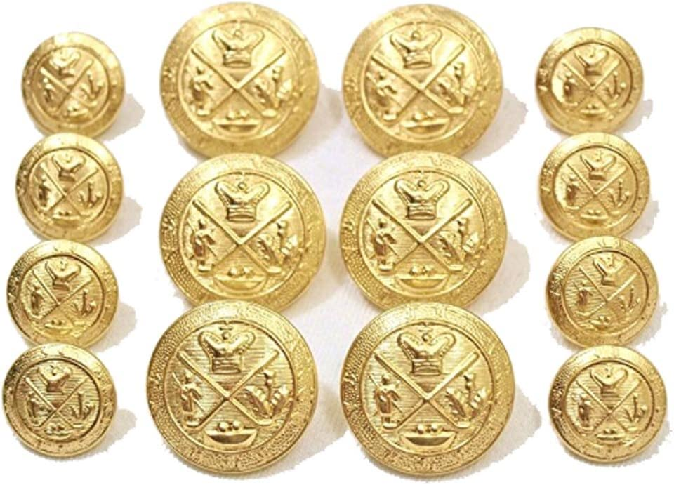Premium NEW ~GOLD GOLF KING'S CREST~ METAL BLAZER BUTTON SET ~ 14-Piece Set of Shank Style Fashion Buttons For Double Breasted Blazers, Sport Coats, Jackets & Uniforms ~