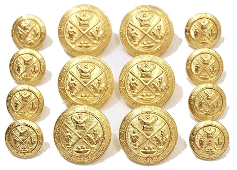 bb9e7f9826431 Premium NEW ~GOLD GOLF KING'S CREST~ METAL BLAZER BUTTON SET ~ 14-Piece Set  of Shank Style Fashion Buttons For Double Breasted Blazers, Sport Coats, ...