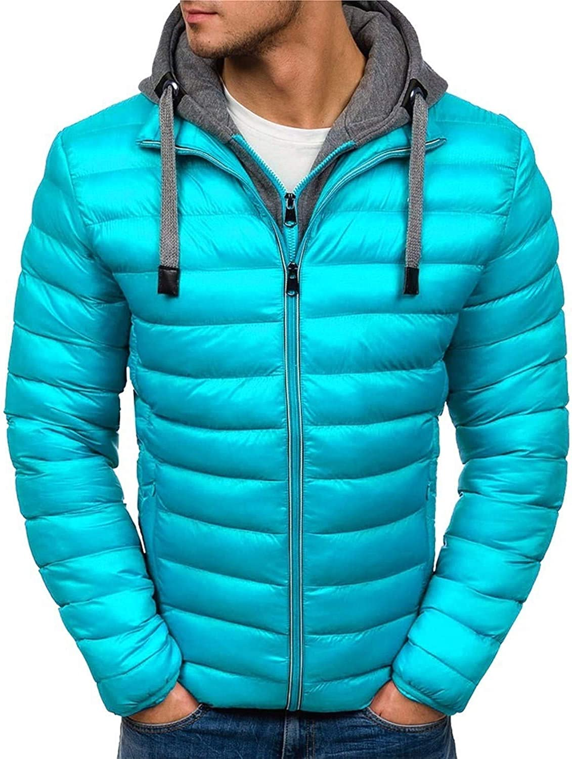Soluo Men's Thicken Puffer Jacket Insulated Water-Resistant Warm Winter Coat Outerwear with Hood