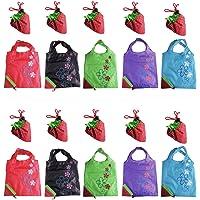 LIFECART 10pcs assortis couleurs fraise pliable ECO sacs réutilisables Shopping sacs fourre-tout