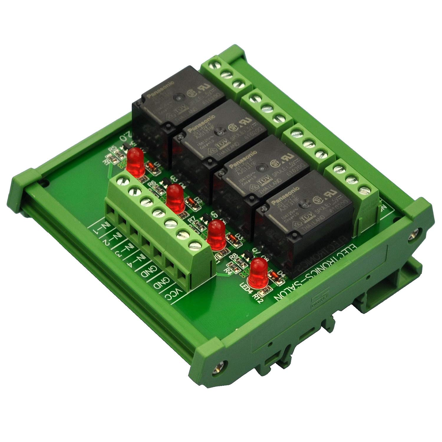 Electronics-Salon DIN Rail Mount 4 SPDT 10Amp Power Relay Interface Module, DC 5V Version.