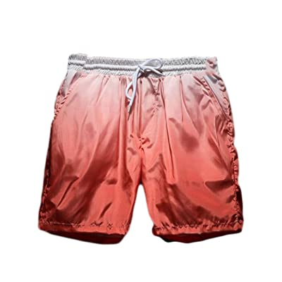 Mens Red Wave Causal Beach Shorts with Elastic Waist Drawstring Lightweight Slim Fit Summer Short Pants with Pockets