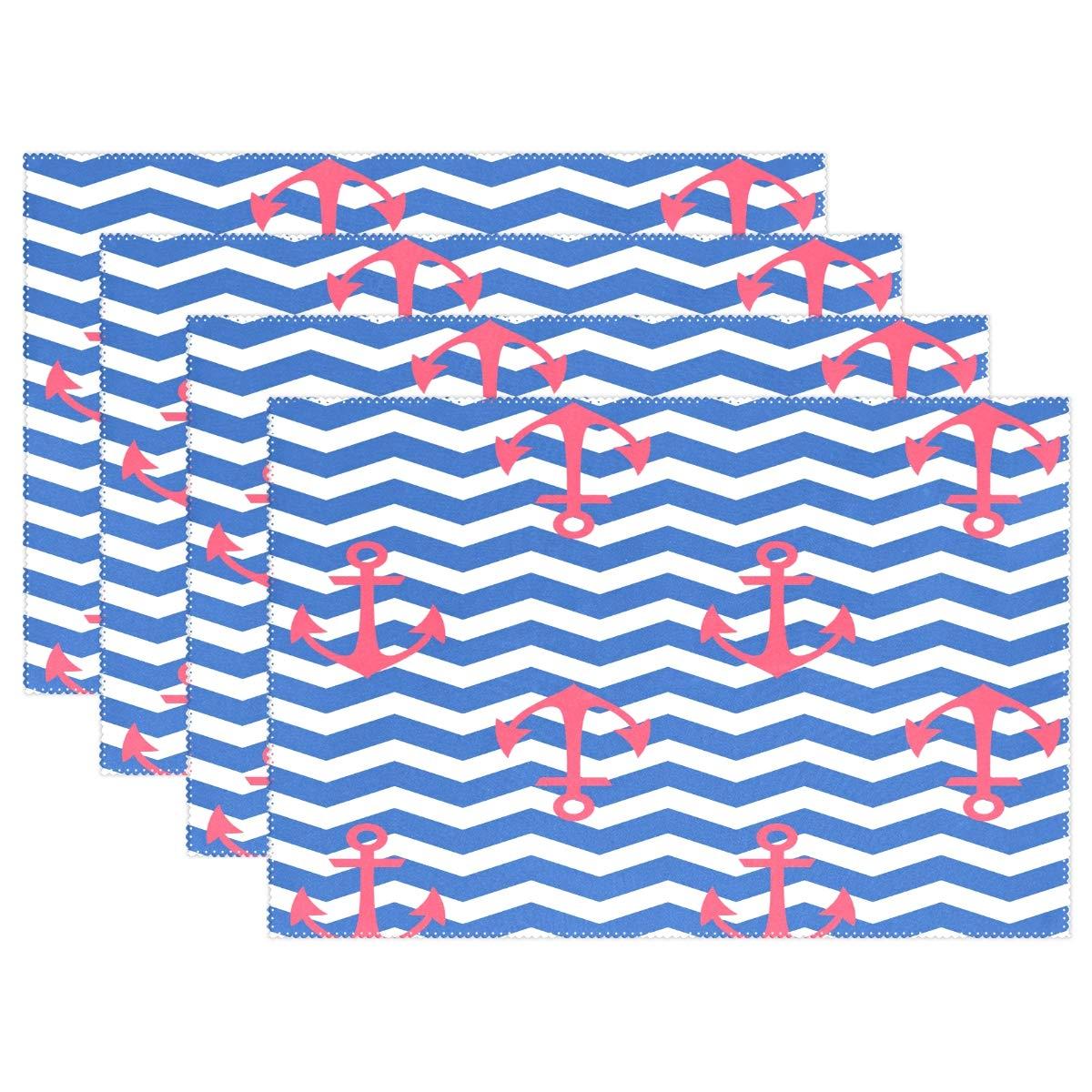 Yochoice ALAZA 幾何学模様 航海用錨 プレースマット プレートホルダー 1セット ポリエステル テーブル マット プロテクター キッチン ダイニングルーム 12インチ x 18インチ 12x18x6 in 6  B07KRV2V3K