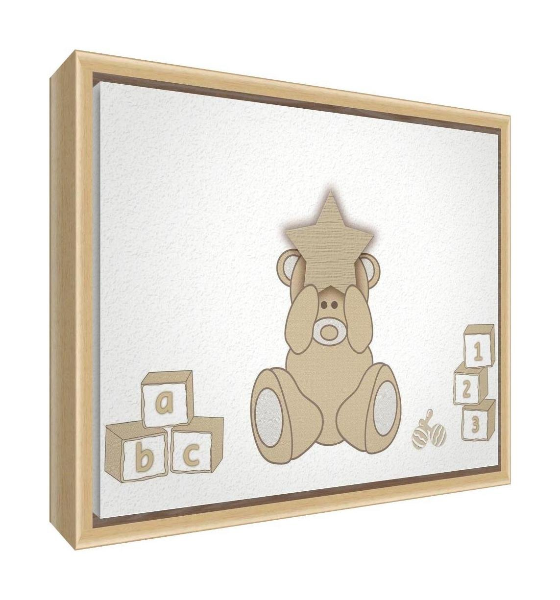 Feel Good Art Eco-Printed and Framed Nursery Canvas with solid Natural Wooden Frame (34 x 24 x 3 cm, Small, Cream, Bear Heart) BEARHEART-128FCNAT-20
