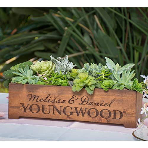Amazon.com: Personalized Rustic Wood Planter Box Wedding Centerpiece on engraved stepping stones, engraved frames, engraved tools, engraved mugs, engraved vases, engraved stools, engraved plaques, engraved benches, engraved pavers, engraved platters,