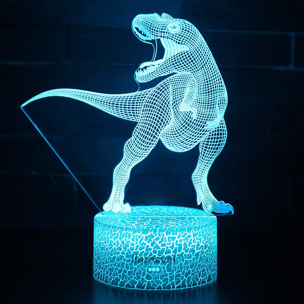 Night Light 3D lamp 7 Colors Changing Nightlight with Smart Touch Control 3D Night Light for Kids Room Decor or Perfect Gift for Kids Bedroom Theme Decor (Dinosaur Tyrannosaurus) by LLAMEVOL (Image #2)