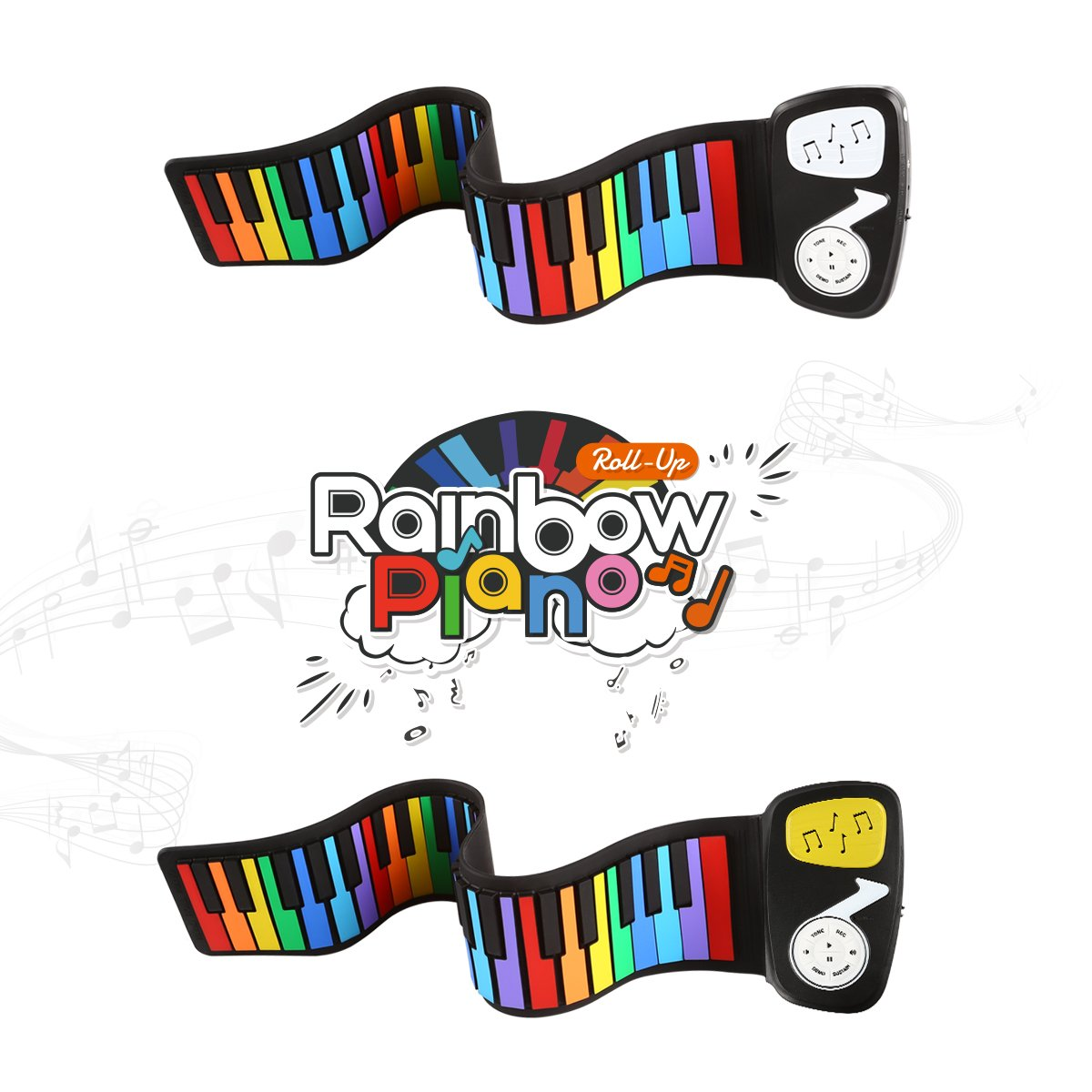 JouerNow Rainbow Roll Up Piano, with Music Scores - Play by Color, 49 Standard Keys with Built-in Speaker, Educational Toy, White by JouerNow (Image #9)