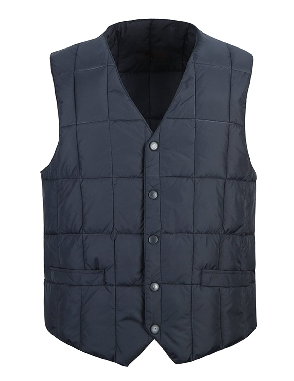 Donzev Men's Winter V Neck Button Down Quilted Down Vest