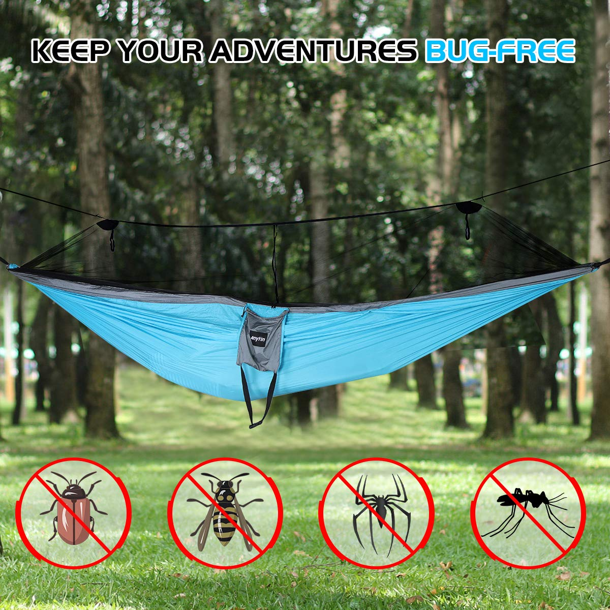 Extra Large Double Camping Hammock for Bug-Free Tent Portable Integrated Ripstop Nylon Hammock with Tree Straps Reversible Travel Backpacking Anytin Hammock with Mosquito Net