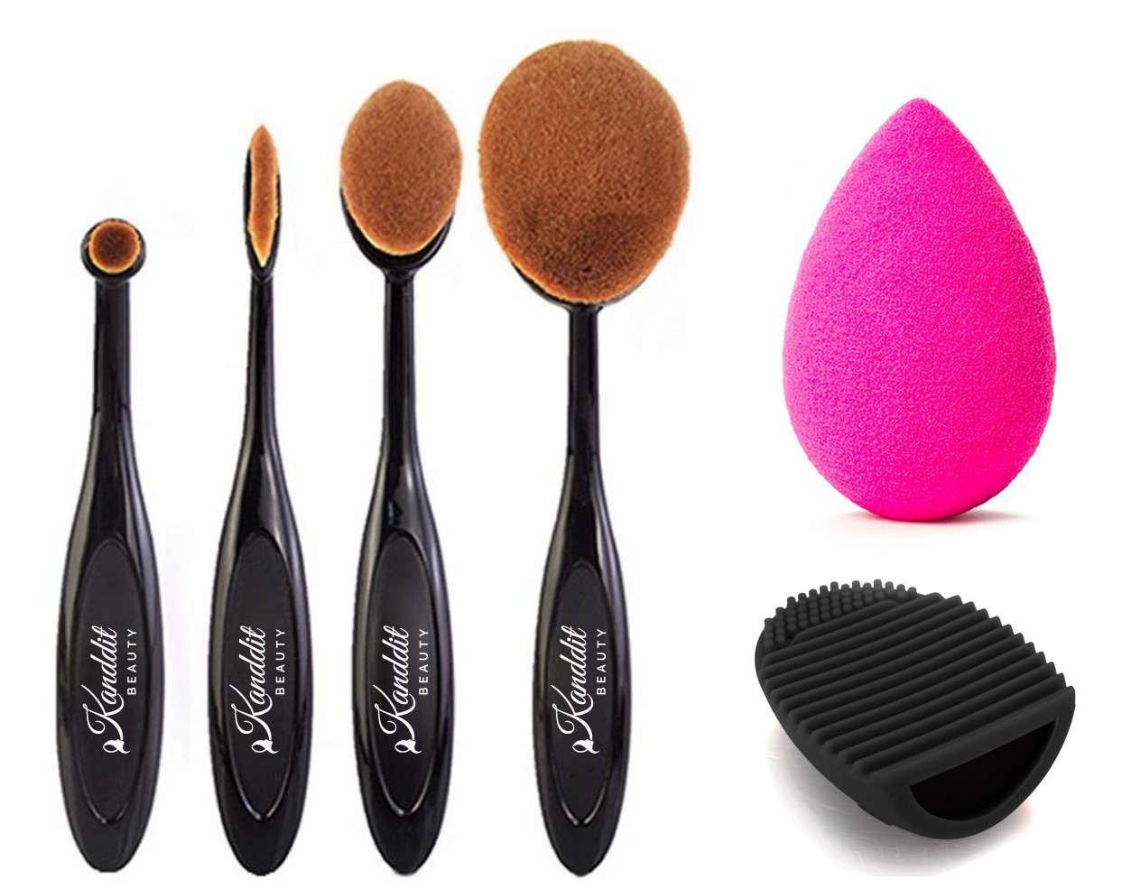 Kanddit 4 Pcs/Set Makeup Toothbrush Shape Oval Makeup Brushes Set Foundation Contour Powder Eyebrow Blush Eyeshadow Brush Set by Amazon