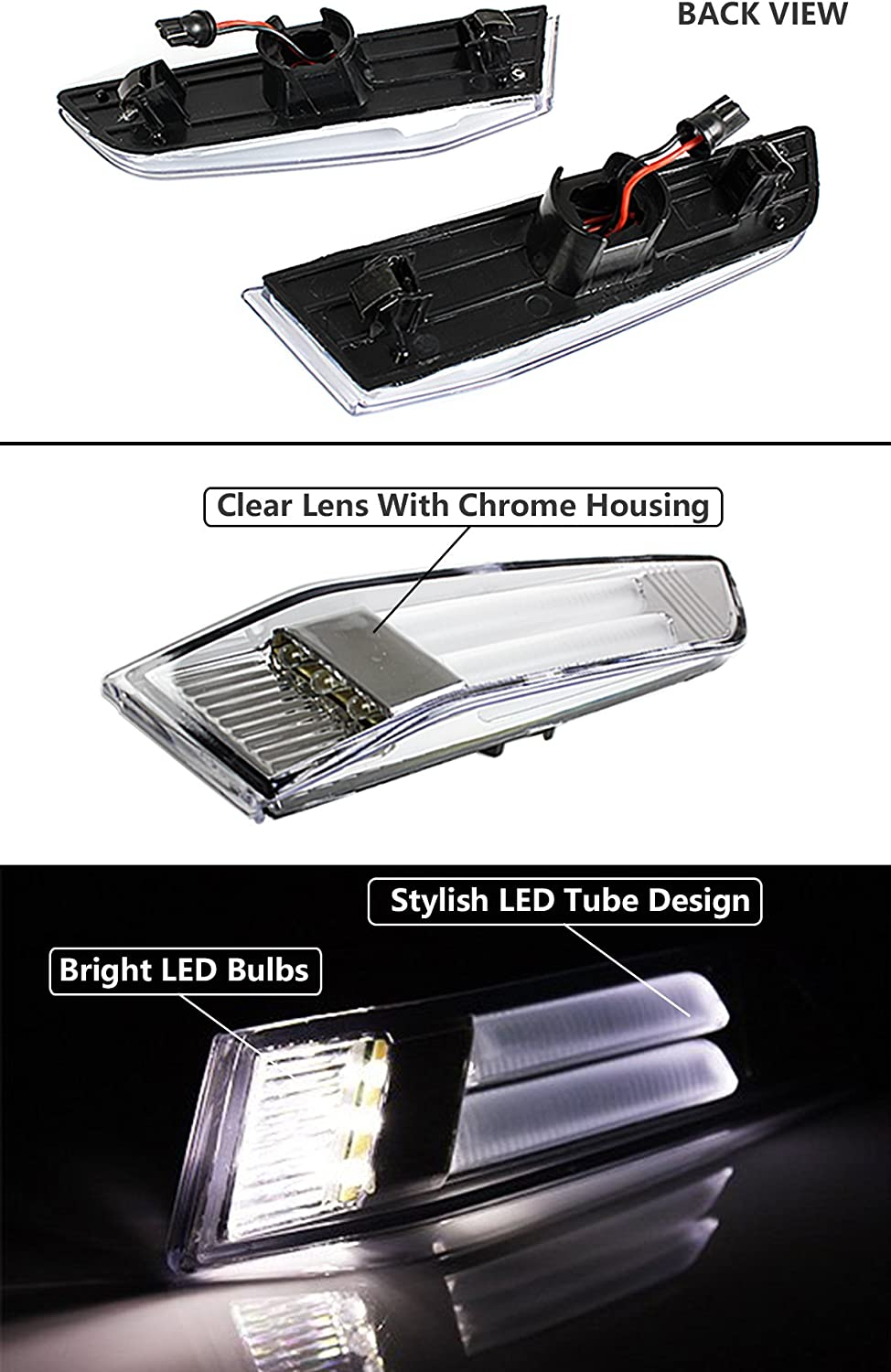 Fits for 2003-2007 Infiniti G35 2 Door Coupe Clear Lens LED Tube Bumper Side Marker Lamps Light